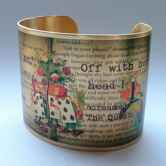 Handmade Literary Brass Cuff Bracelet with Alice in Wonderland The Queen's Croquet-Ground. 'Would you tell me,' said Alice, a little timidly, 'why you are painting those roses?'    'Off with her head !' screamed The Queen from Chapter Eight.     From Chapter 8 of Lewis Carroll's Alice's Adventures in Wonderland; completely whimsical and full of literary nonsense ! I've taken the Tenniel illustrations of the playing cards painting the white roses red and The Queen screaming at little Alice; al...
