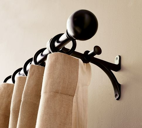 double curtain rod living room decor pinterest. Black Bedroom Furniture Sets. Home Design Ideas