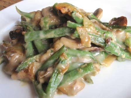: Green bean casserole with fresh mushrooms and caramelized onions ...