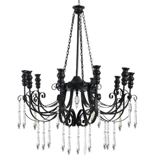 Black Iron Chandelier with Crystals
