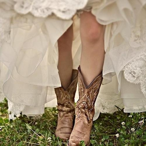 Wedding Dresses For Cowboy Boots : Cowboy boots under lace wedding dress a girl can dream