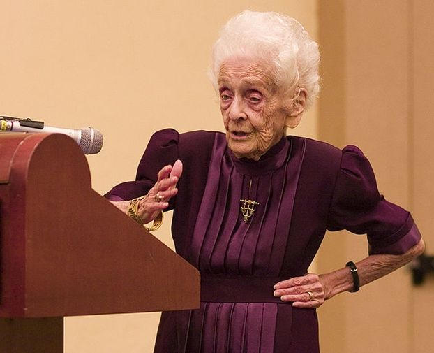 """Rita Levi-Montalcini, born 22 April 1909, Knight Grand Cross is an Italian neurologist who, together with colleague Stanley Cohen, received the 1986 Nobel Prize in Physiology or Medicine for their discovery of nerve growth factor (NGF). Since 2001, she has also served in the Italian Senate as a Senator for Life.  """"I can say my mental capacity is greater today than when I was 20, since it has been enriched by so many experiences,"""" she says."""