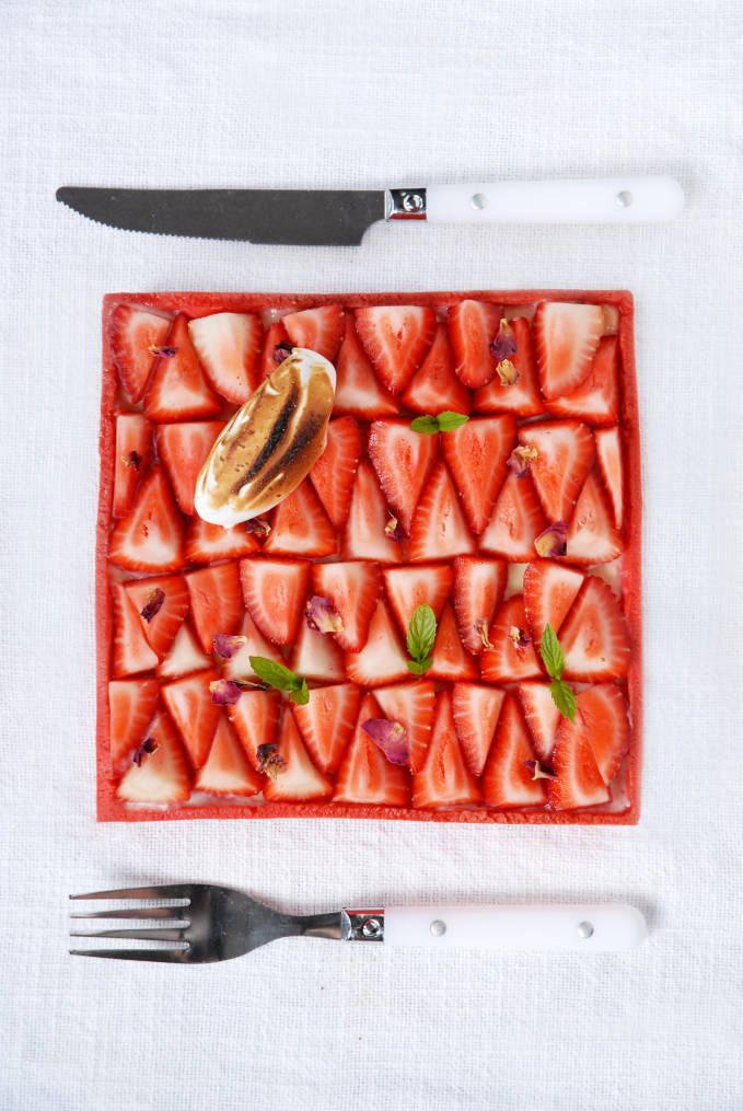 Toasted-Almond Cake With Strawberries In Rose-Water Syrup Recipe ...
