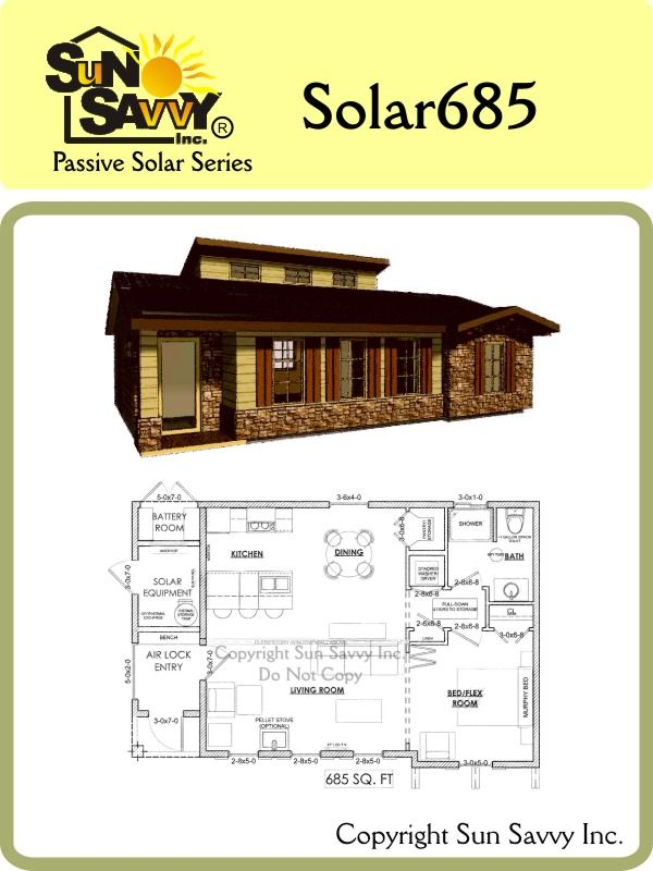 Sun Savvy Home Plans Solar 685 Prefab Tiny Homes