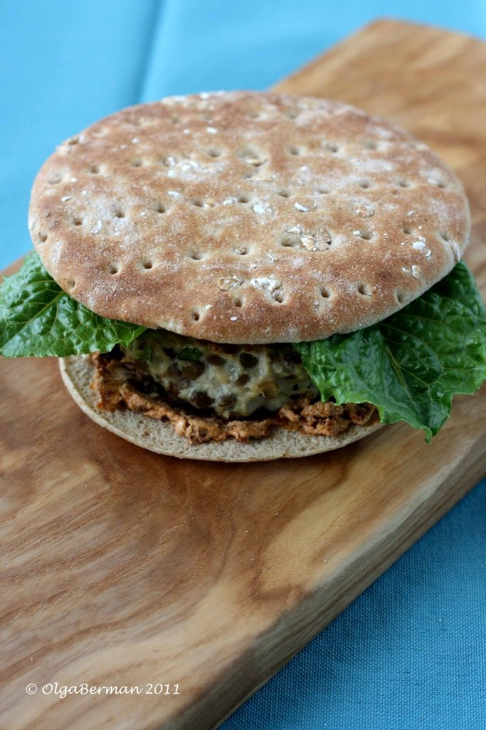 Chicken and Lentil Burgers with Sundried Tomato & Goat Cheese Spread