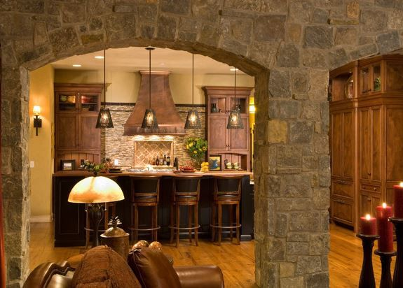 interior stone archway stone home pinterest
