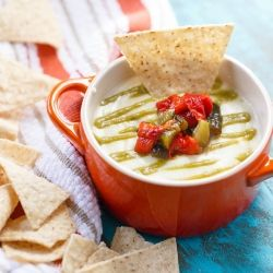Ultimate Queso with Roasted Poblano Sauce and Pepper Relish