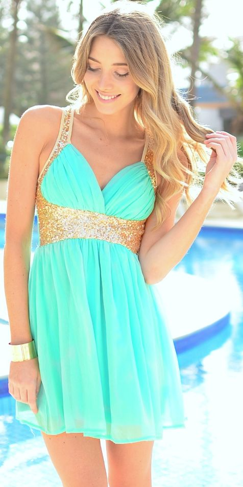 Mint & Gold Glitter Dress