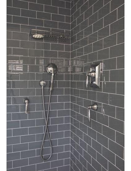 Shiny Dark Grey Tiles Bathroom Vanity Other Pinterest