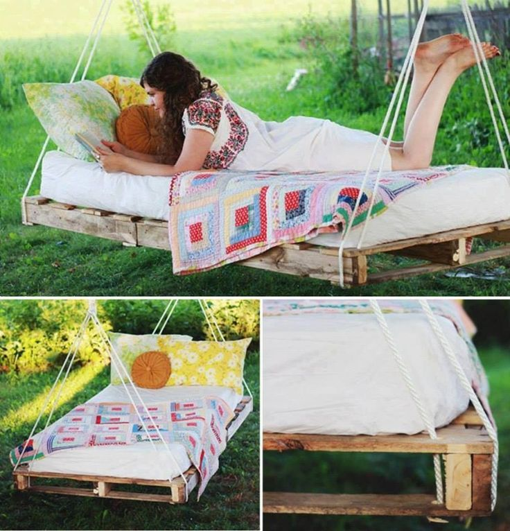 Pallet bed swing outdoors pinterest for How to make a pallet swing