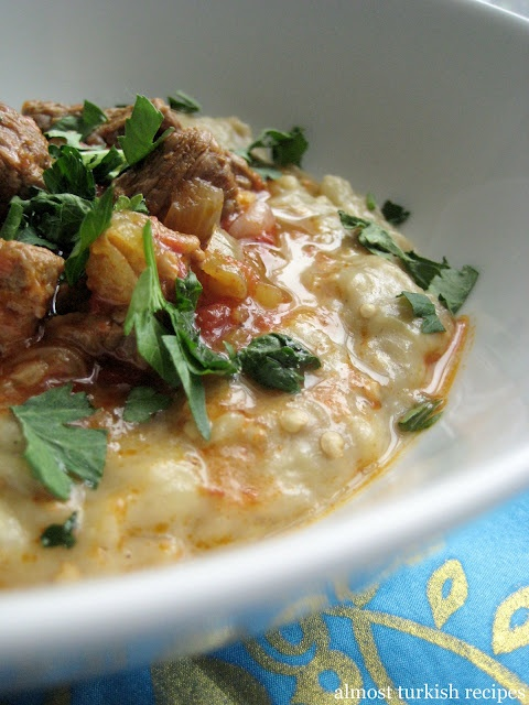 ) ~ Hünkar Beğendi is lamb stew served on a bed of creamy roasted ...