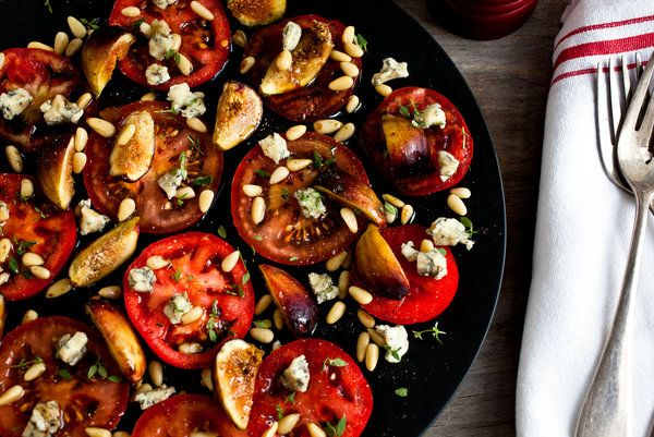 Tomato, fig and blue cheese salad.