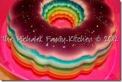 Rainbow Ribbon Jell-O Salad featuring all the colours representing the ...