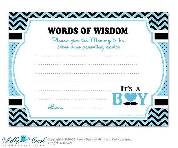 man boy mustache words of wisdom advice card for baby shower pr