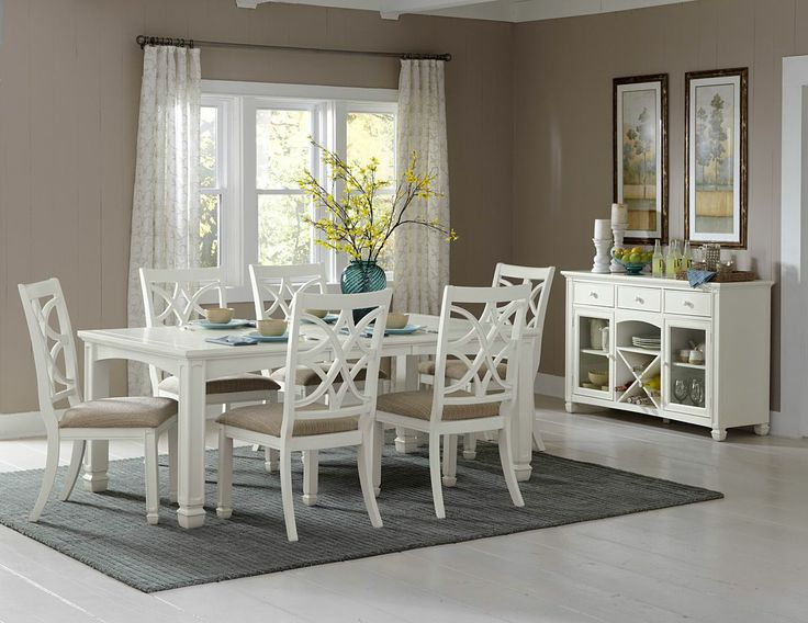 collection southern country style white finish wood dining table set