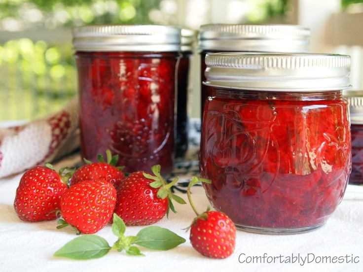 Strawberry Basil Jam from ComfortablyDomest.... No sugar added!