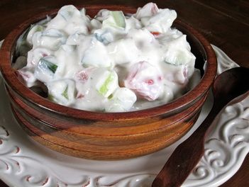 Chunky Cucumber Yogurt Sauce- It's a salad and a salad dressing at the ...