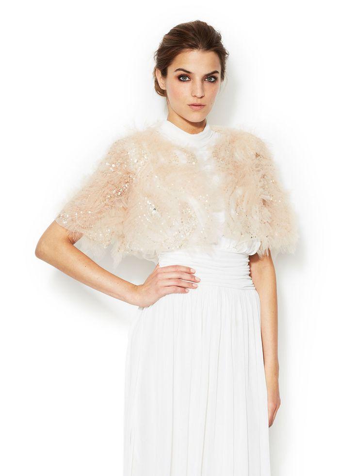 Silk Organza Sequin Bolero by Marchesa Couture at Gilt