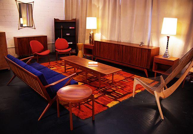 mid century modern living room danish modern walnut sofa rya hand
