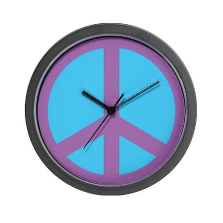 purple amp blue peace sign wall clock purple amp blue or