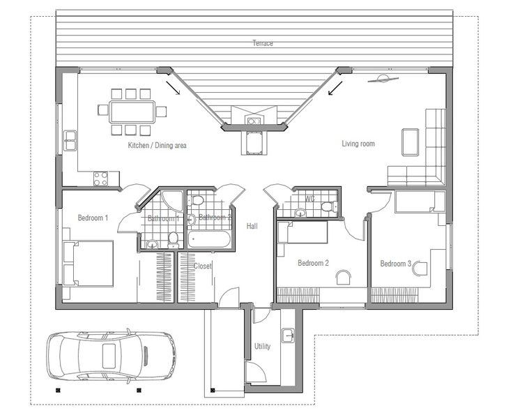 Small simple house plan pole barn house plans pinterest for Small barn house plans