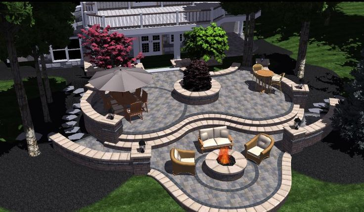 Tiered 3d brick patio with landscape design in bloomfield for Patio landscaping ideas