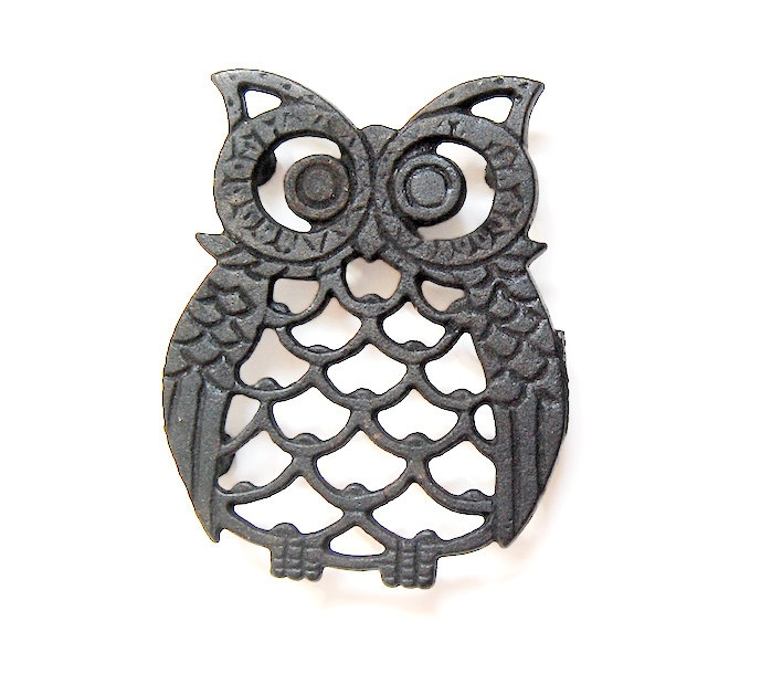 Owl Decor Owl Kitchen Owl Trivet Vintage Owl 80s