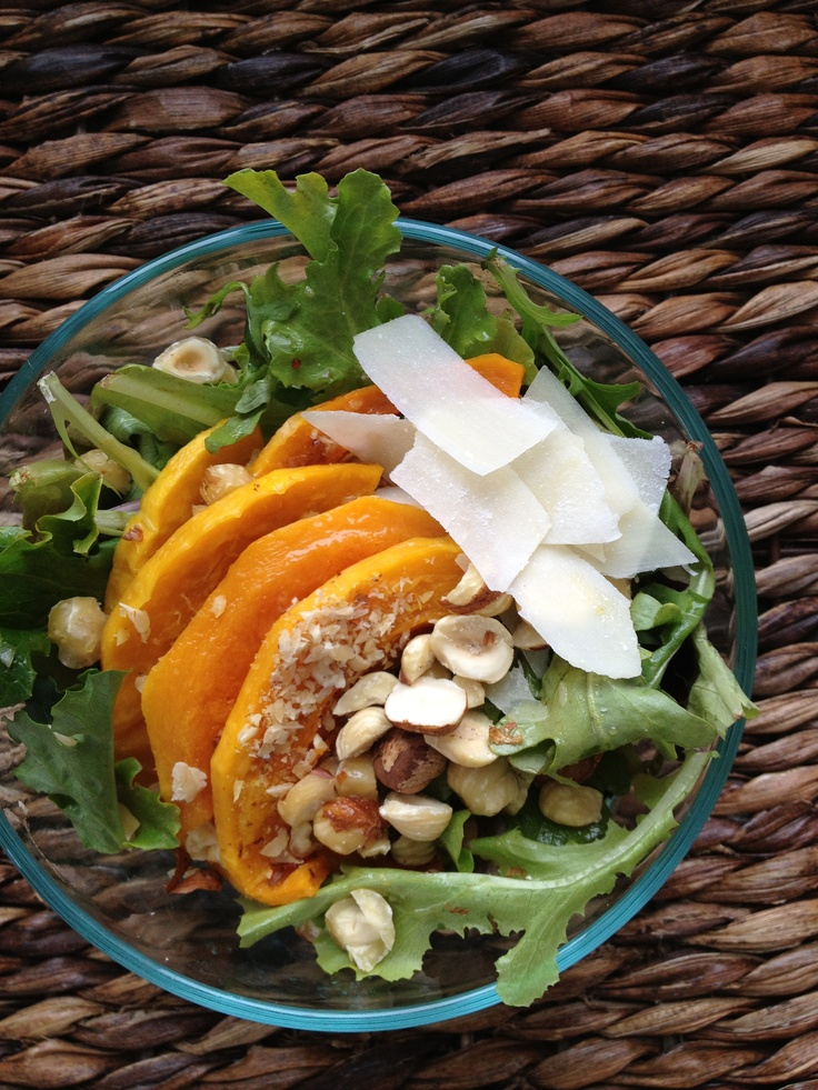 Roasted Butternut Squash Salad with toasted hazelnuts, shaved parmesan ...