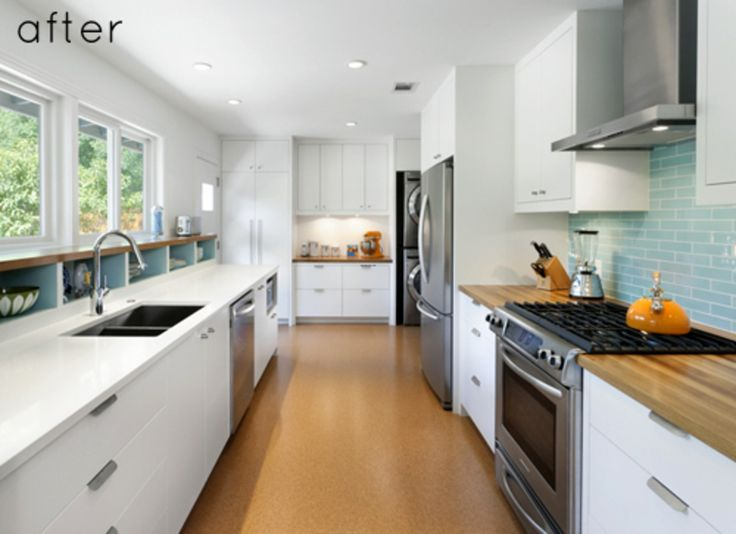Before and after modern galley kitchen kitchens pinterest for Galley kitchen remodels before and after