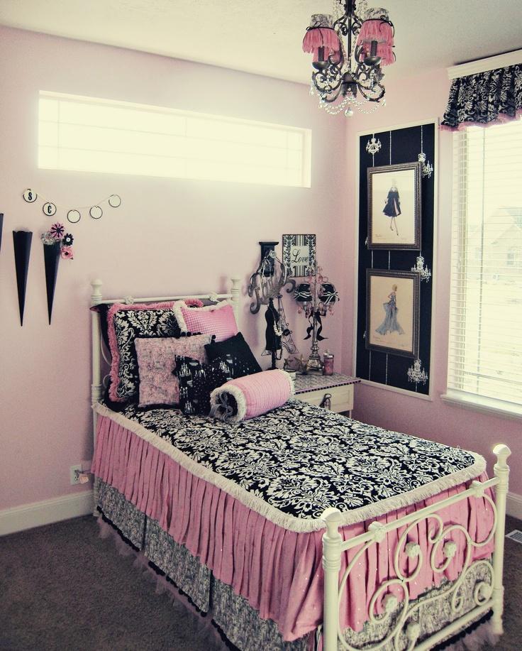 Pink And Black Bedroom Girls Room Ideas Pinterest