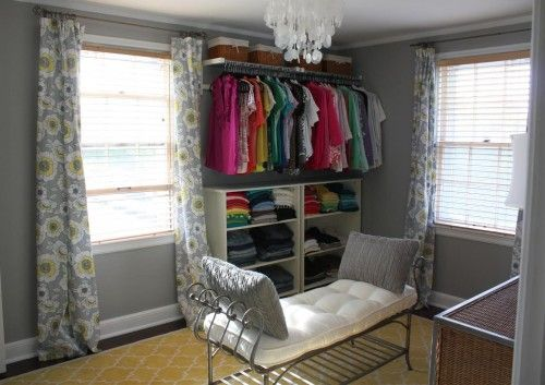 Bedroom turned walk in closet organization decoration for Small room no closet solutions