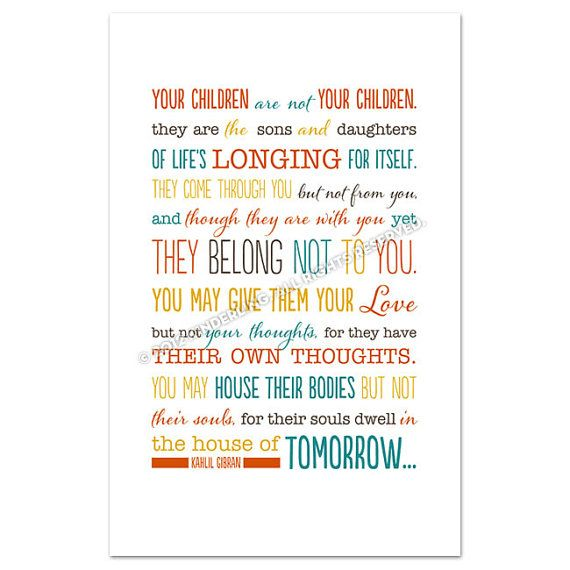 Kahlil Gibran Quote Typography Print On Children by Kinderling, $21.50