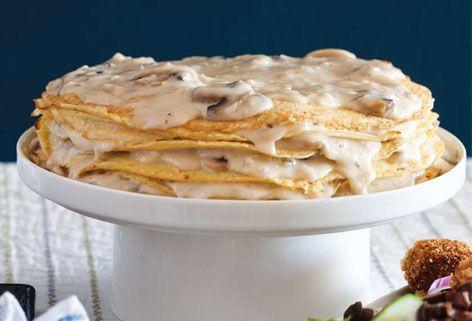 Creamy Onion and Mushroom Crepe Pie #hanukkah #chanukah