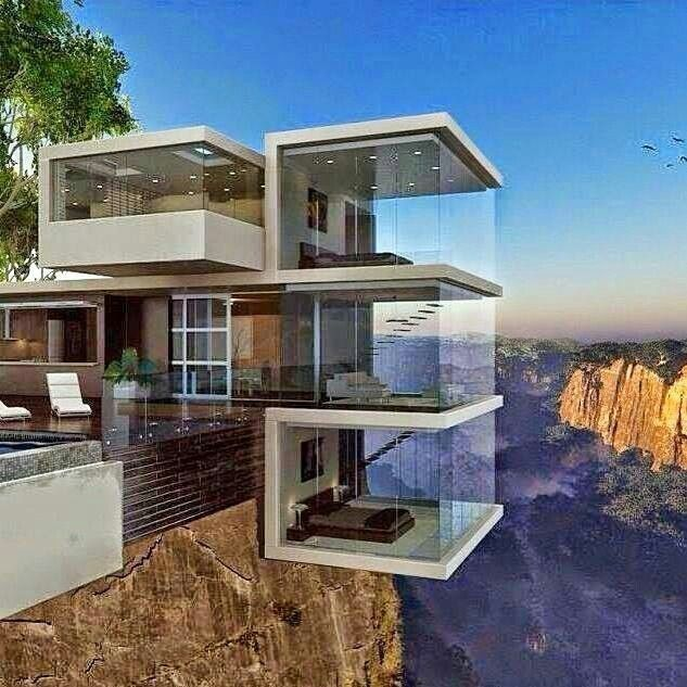Glass house on the cliff rooms i love pinterest for Cliff hanging homes