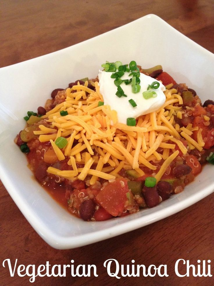 Vegetarian Quinoa Chili | Veggie foods Fruit foods | Pinterest