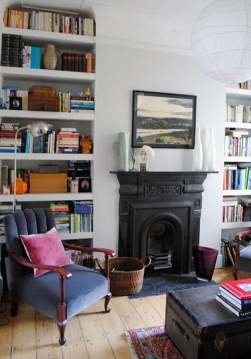 Alcove floating shelves shelving ideas housetohomecouk of for Shelves living room design