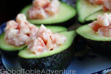 West African Shrimp In Avocado Boats Recipe — Dishmaps