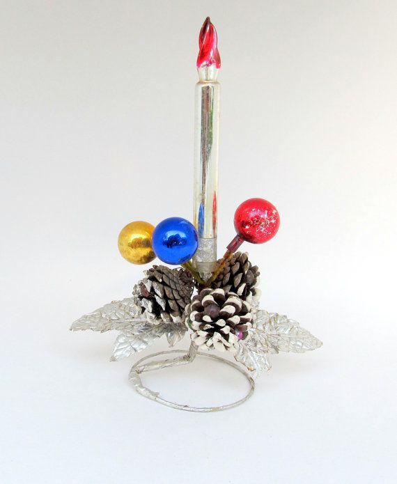 Vintage christmas decoration mercury glass candle for 7 candle christmas decoration