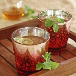 A herbal tea made with lemongrass, basil, mint and ginger, sweetened with honey. Refreshing and healing.