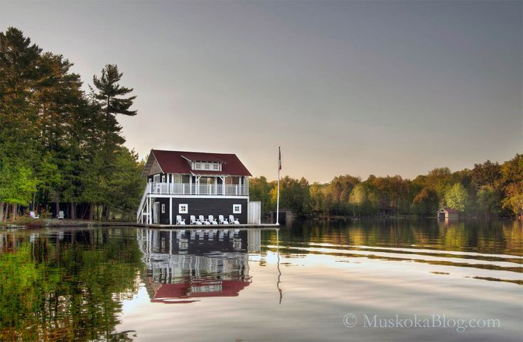 Muskoka Boathouse in the early morning light