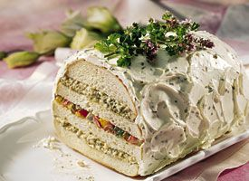 Pesto and Roasted-Vegetable Sandwich Loaf | Recipe