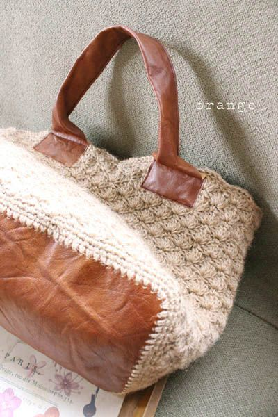 crochet bag idea--I could use the fabric samples for the bottom and ...