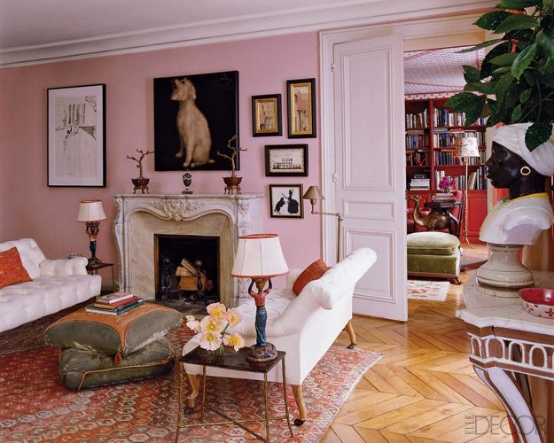 Pink Wall Living Room Elle Decor Living Spaces Pinterest