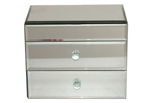 Mirrored jewelry box large for Mirror jewellery box