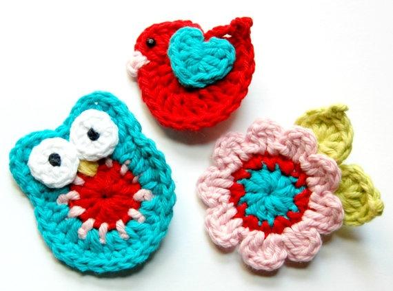 Crochet Hair Clips Crochet Pinterest