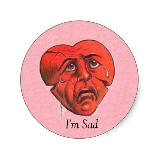 Sad Crying Red Heart Face Pink StickersPink Sad Face