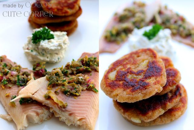 Hash Browns with smoked Trout, Capers, Lemon and Parsley