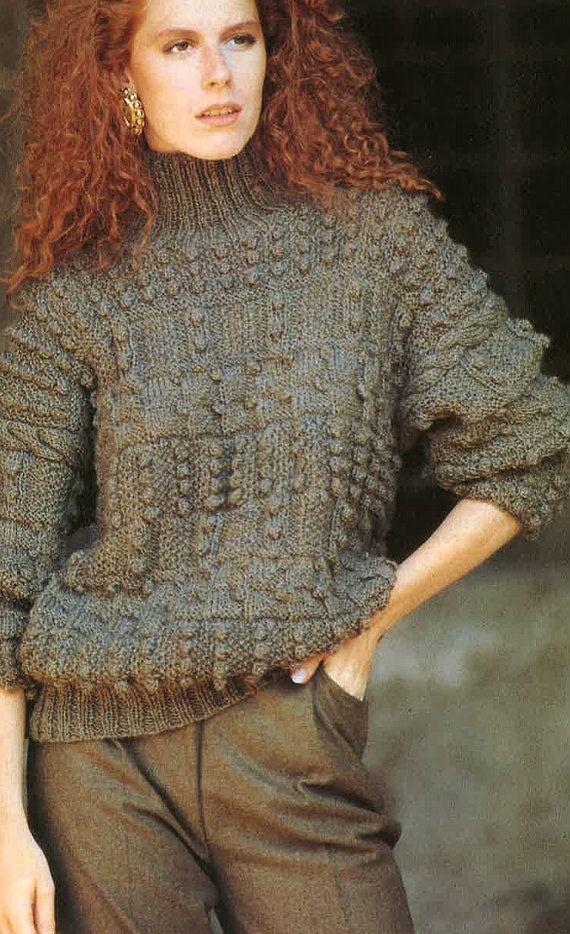 Knitting Patterns Ladies Aran Jumpers : Ladies Aran Sweater Pattern PDF No.0382 From TimelessOne Shop