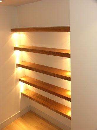floating shelves w lighting living room pinterest. Black Bedroom Furniture Sets. Home Design Ideas