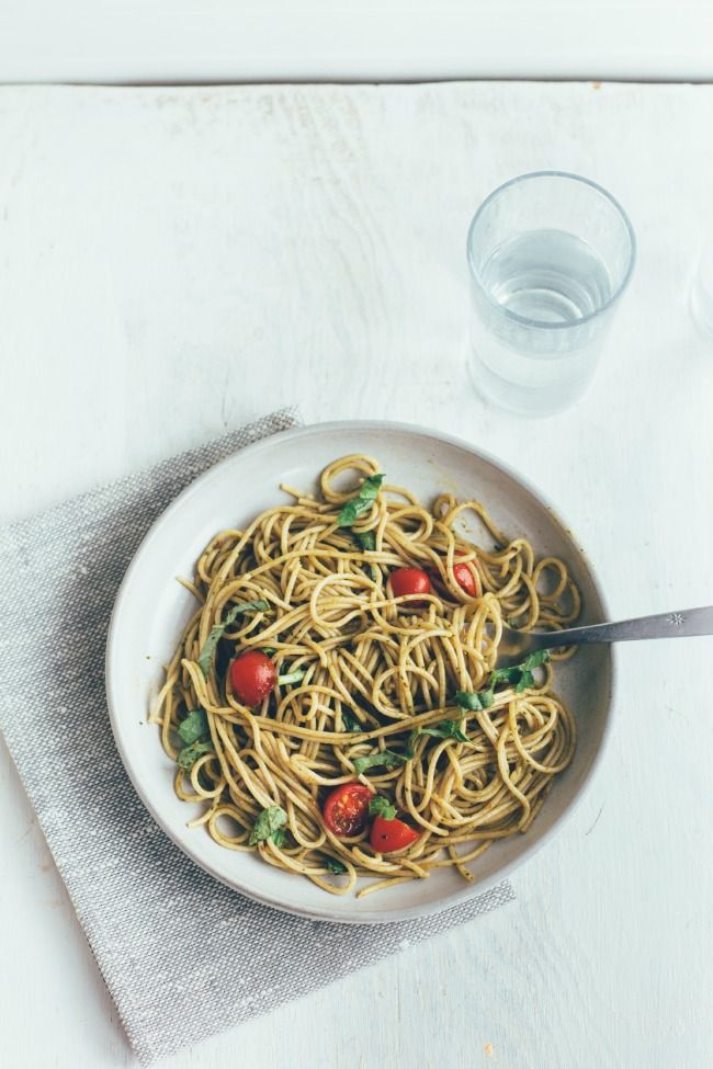 whole wheat pasta with balsamic-spinach-basil dressing | the vanilla ...